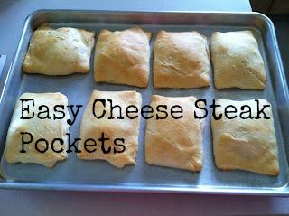 Easy Cheesy Cheese Steak Pockets #Recipe