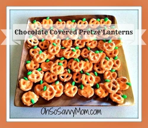 chocolate covered pretzel Jack-o'-lanterns