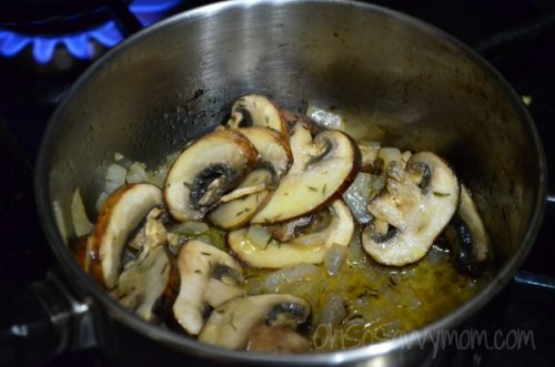 Mushrooms sauteing in pan