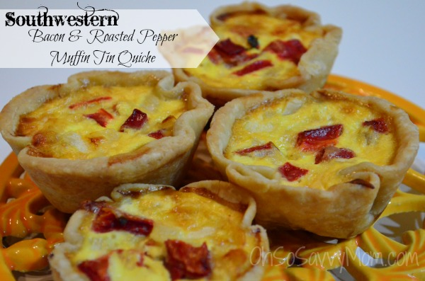 Southwestern Bacon and Roasted Red Pepper Muffin Tin Quiche