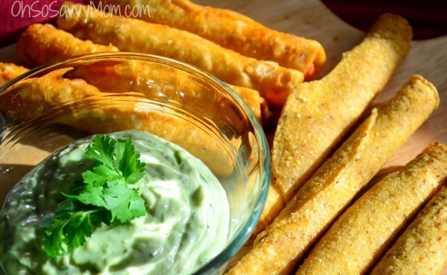 Avocado Lime Dip Recipe with Battered Taquitos