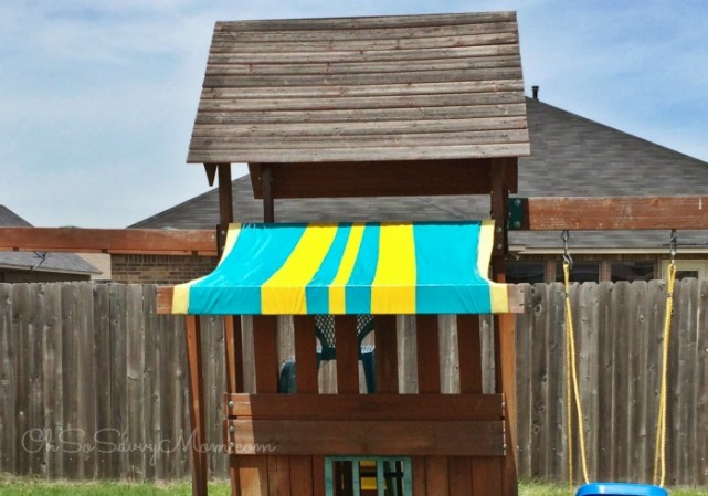 Easy Diy Swing Set Canopy Replacement Oh So Savvy Mom