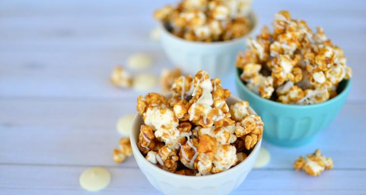 White Chocolate Drizzled, Honey Cinnamon Caramel Popcorn Recipe