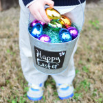 Easter Basket with metallic Easter eggs