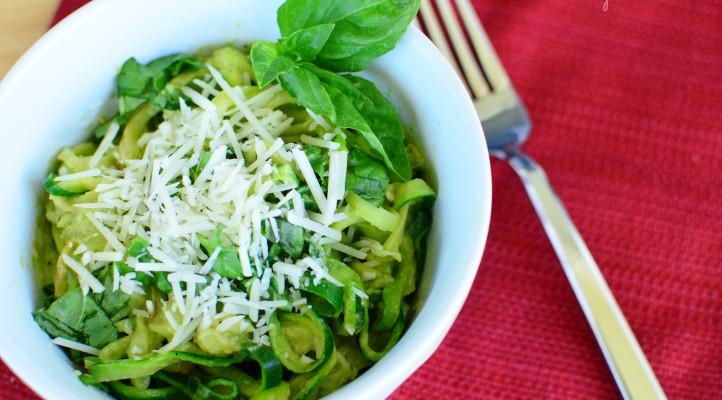 Sautéed Zucchini Noodles with Avocado Pesto