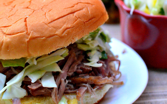 Kalua Pork Barbecue Burgers with Pineapple Coleslaw
