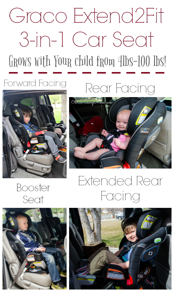 Graco Extend2Fit 3-in-1 Convertible Car Seat fits babies and children from 4 lbs to 100 lbs.