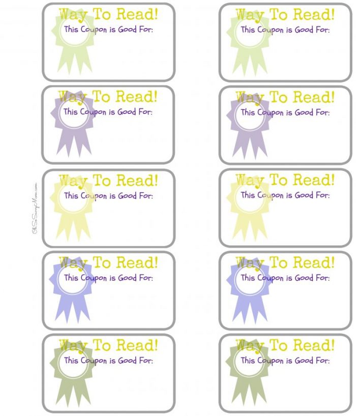 Blank Reading Coupons for kids. Great for summer reading programs!