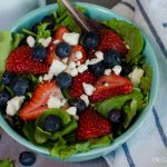 Harvest Berry Salad with strawberries, blueberries, and feta