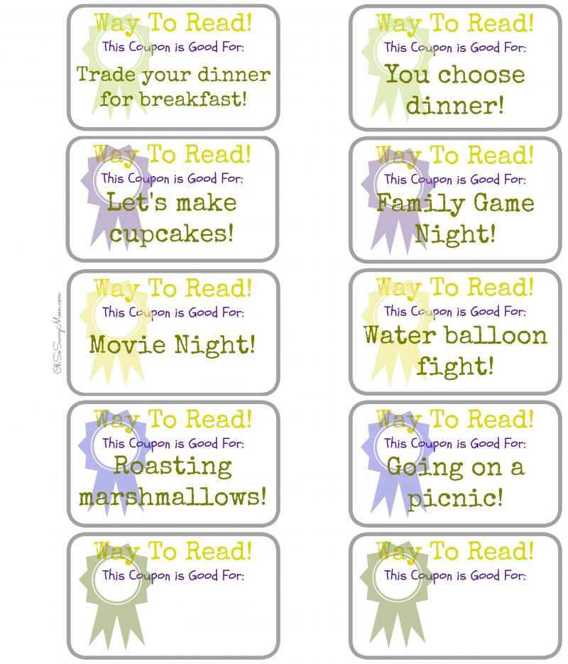 create your own home summer reading program   summer reading reward coupon printables