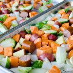 Sausage, Sweet Potato, and Brussel Sprout Sheet Pan Dinner