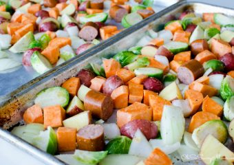 Insanely Easy Sheet Pan Dinner – Veggie, Sweet Potato, and Sausage Sheet Pan Dinner