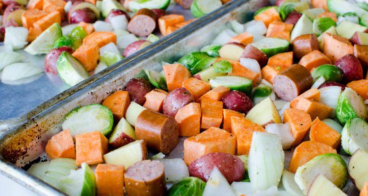 Insanely Easy Sheet Pan Dinner – Veggie, Sweet Potato, and Sausage Sheet Pan Dinner
