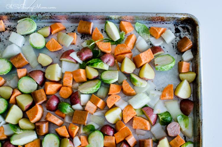 Veggie, Sweet Potato, and Sausage Easy Sheet Pan Dinner