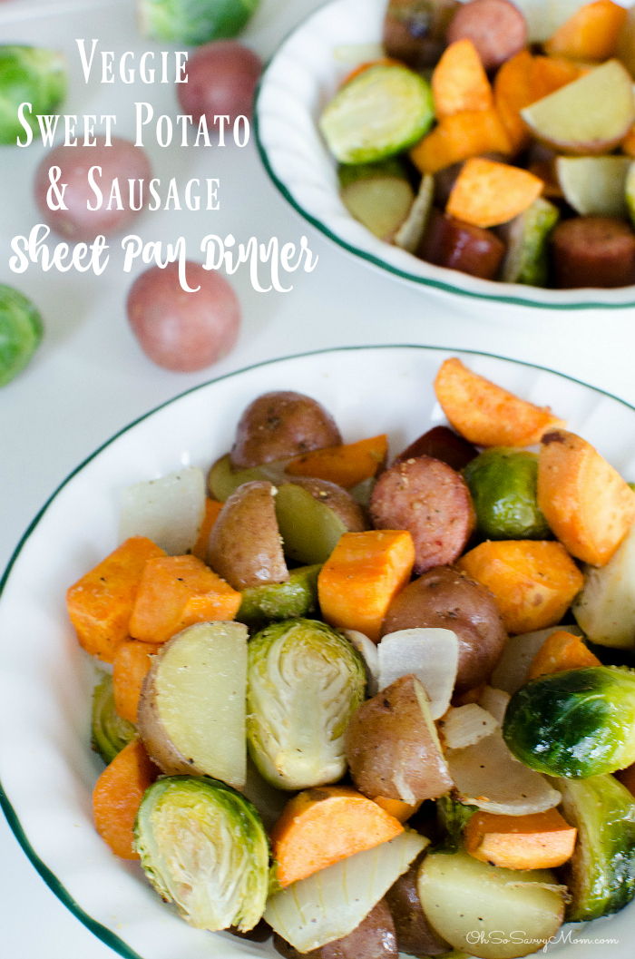 Brussel Sprouts, Sweet Potato, and Sausage sheet pan dinner