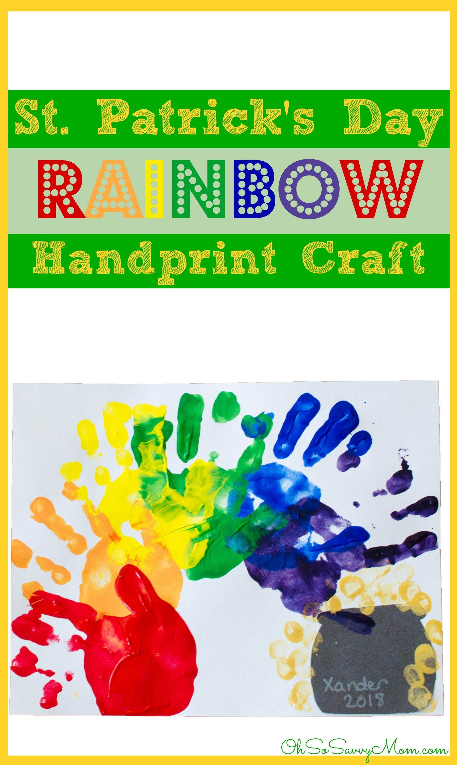 St. Patrick's Day Rainbow Handprint Craft