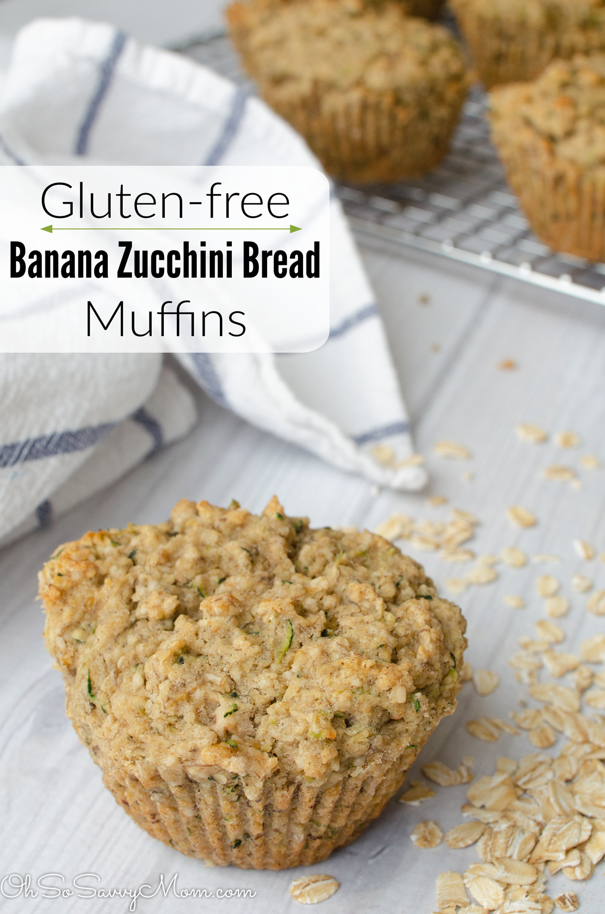 Great for school lunch, snack at home, or dessert. These Banana Zucchini Bread Muffins are #glutenfree, dairy-free, egg-free, nut-free, and low in added sugar! #recipe #baking #allergyfriendly